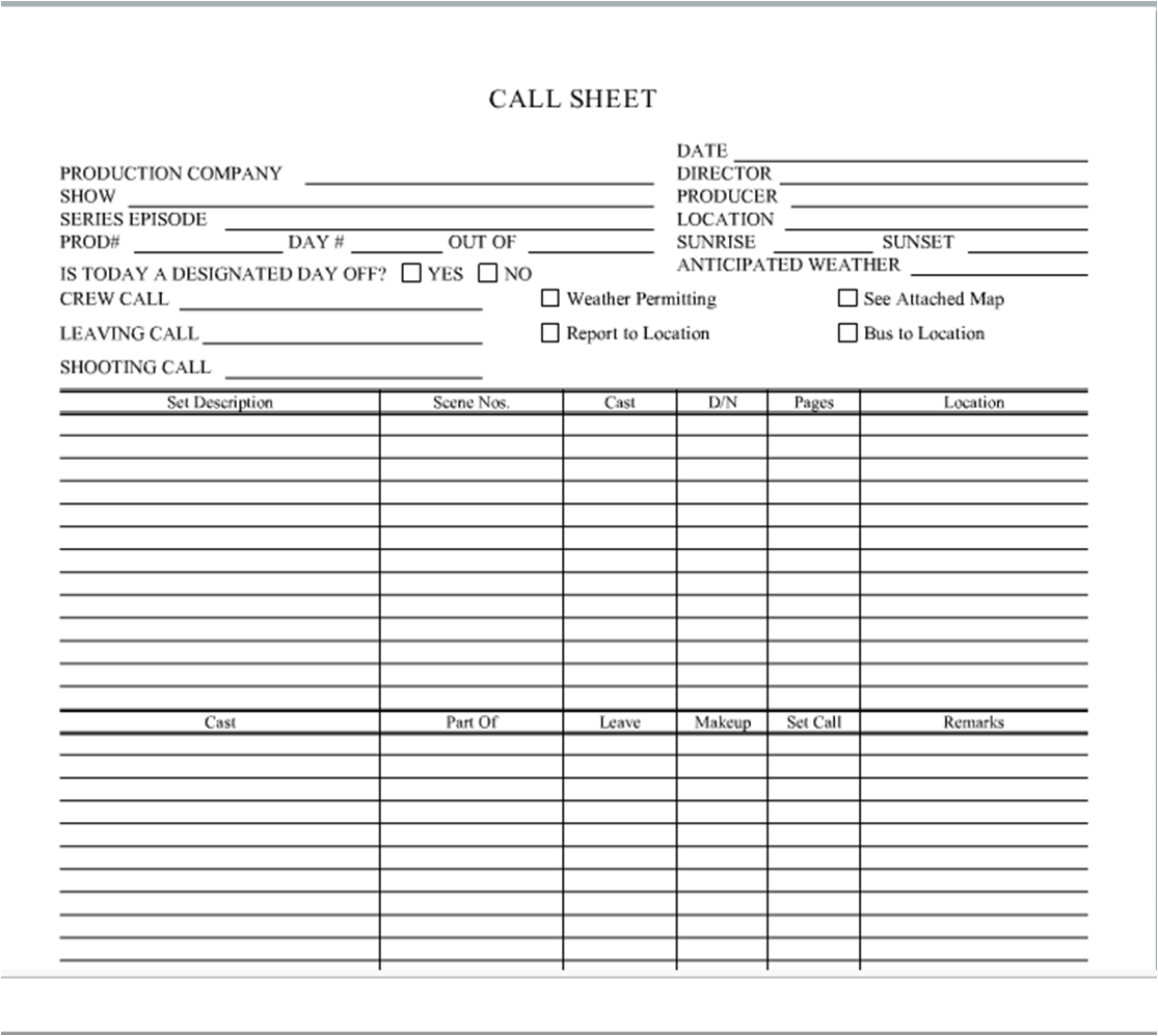 how to write a call sheet
